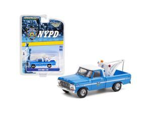 """1979 Ford F-250 Tow Truck with Drop-In Tow Hook Blue with White Top \New York City Police Dept.\ (NYPD) \""""Hobby Exclusive\"""" 1/64 Diecast Model Car by Greenlight"""""""""""""""