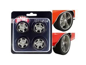 """Street Fighter Torque Thrust Wheel and Tire Set of 4 pieces from \1970 Pontiac GTO Street Fighter \The Prosecutor\"""" 1/18 by ACME"""""""""""""""