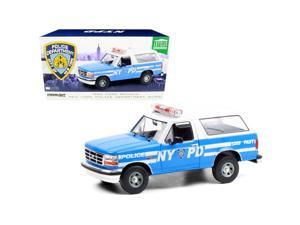 """1992 Ford Bronco Police Car Light Blue and White \New York City Police Department\ (NYPD) 1/18 Diecast Model Car by Greenlight"""""""""""""""