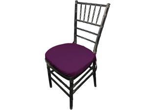 LA Linen Pack-4 Polyester Poplin Chiavari Chair Cushion Cover , Purple