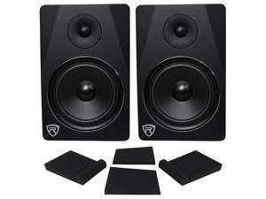 "(2) Rockville DPM8B Dual Powered 8"" 600w Active Recording Studio Monitors+Pads"