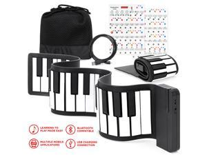 Best Choice Products Kids 49-Key Portable Bluetooth Flexible Roll-Up Piano Keyboard Musical Toy w/ Note Labels - White