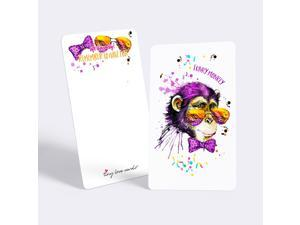 """Tiny Love Cards - Set of 85 Cute Mini Cards for Any Occasion - 2"""" x 3.5"""", Small Blank Note Cards (Party Animals: Monkey)"""