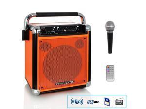 Trexonic TRX-99ORG Wireless Portable Party Speaker with USB Recording, FM Radio & Microphone - Orange