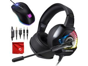 ONIKUMA K6 RGB LED Light Pro Over-Ear 7.1 Surround Sound Noise Cancelling Gaming Headset Headphones Microphone Bundle with 8000 DPI RGB Wired Mouse for PC, MAC, Desktop, Laptop Computer