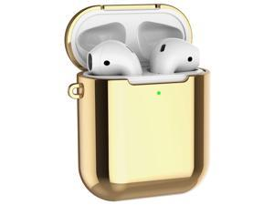 Alritz Case Compatible for AirPods 1st and 2nd Generation, Plating TPU Protective Case Shockproof Cover Skin for Apple AirPods 1 & 2 Charging Case [Front LED Visible] - Gold