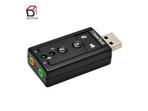 Mini External USB Sound Card 7.1 CH Channel 3D Audio Adapter with 3.5mm Headset MIC Speaker for PC Desktop Notebook