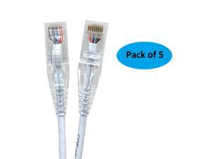 Micro Connectors (E08-050W-SLIM-5) Ultra Slim 50 Feet (28AWG) CAT 6 UTP RJ45 Patch Cables, Pack of 5, Color-White