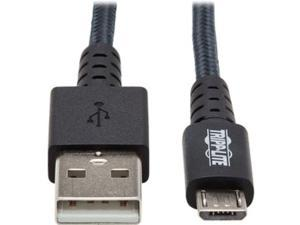 Tripp Lite U050-010-GY-MAX Heavy-Duty USB-A to USB Micro-B Cable - M/M, USB 2.0, UHMWPE and Aramid Fibers, Gray, 10 ft. (3 m)