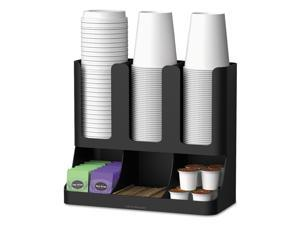 Mind Reader Flume 6 Compartment Upright Coffee Condiment and Cups Organizer