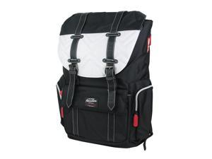 """Travelers Club Scout 18"""" Laptop Business Travel Backpack Daypack Black/White"""