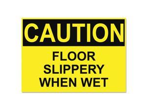 Headline Sign OSHA Safety Signs CAUTION SLIPPERY WHEN WET Yellow/Black 10 x 14
