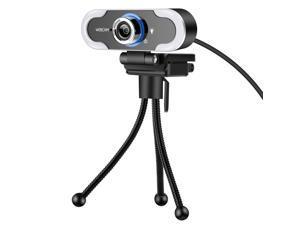 Webcam, 1080P High-Definition Touch 3-level Brightness Web Camera Fill Light Camera Live Webcast Webcam with Tripod