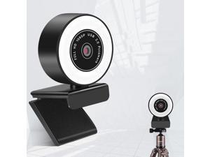 Webcam, mini USB Drive-Free HD Fill Light Camera with Microphone, Pixel:1.0 Million Pixels 720P