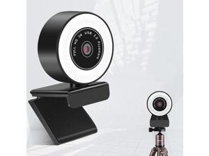 Webcam, mini USB Drive-Free HD Fill Light Camera with Microphone, Pixel:2.0 Million Pixels 1080P