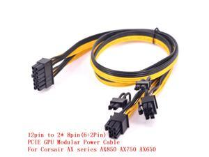 12pin to Dual 6+2Pin PCI express Power supply Cable 2 PCIe 8pin Multi-GPU Modular Power For Corsair AX series AX850 AX750 AX650