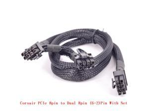 PCI-e 8Pin to Dual 8Pin 6+2pin Braided Net Power supply Cable Graphics Card GPU Cable 8Pin for CORSAIR RM Series RM1000 RM850 RM750 RM650 RM550 RM450 CS Series CS450M CS550M CS650M CS750M CS850M