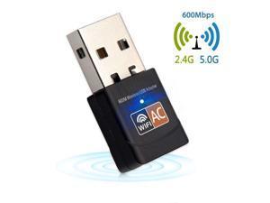 600Mbps USB WiFi Adapter 2.4GHz 5GHz WiFi Antenna PC Mini Wireless Computer Net