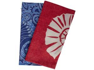 """Set of 2 Blue and Red Nautical Outdoor Pillow Covers 15.5"""""""