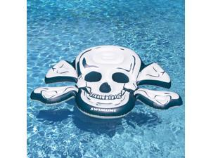 """81"""" White and Blue Skull and Crossbones Inflatable Swimming Pool Raft"""