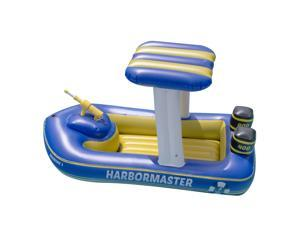 "67"" Blue and Yellow Harbor Master Patrol Boat with Pump Squirter Swimming Pool Float"