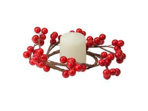 "7"" Shiny Red Berries Artificial Christmas Candle Ring"