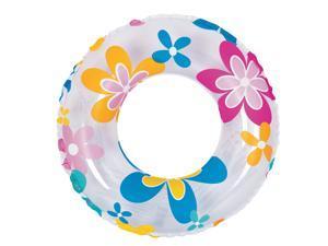 """24"""" Inflatable Multicolor Flower Print Swimming Pool Inner Tube Ring Float"""