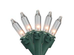 20-Count Clear Mini Christmas Light Set, 4ft Green Wire