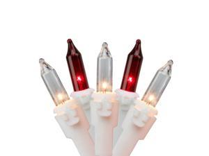 35-Count Red and Clear Mini String Christmas Light Set, 7ft White Wire