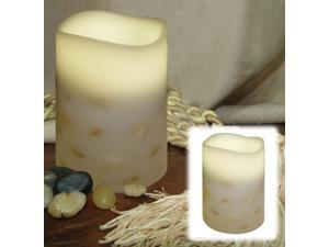 "5.5"" Battery Operated Ivory Embedded Seashells Flameless LED Flickering Pillar Candle"