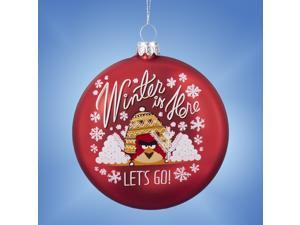 """4"""" Red Angry Birds """"Winter Is Here"""" Christmas Disc Ornament"""