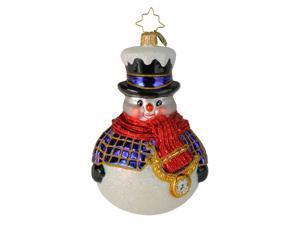 Christopher Radko Jolly All A-Round Snowman Glass Christmas Ornament