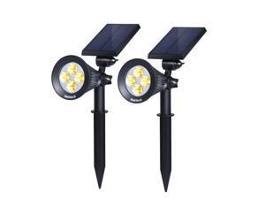 Nekteck Solar Lights Outdoor, 2-in-1 Solar Spotlights Powered 4 LED Adjustable Wall Light Landscape Lighting, Bright and Dark Sensing, Auto On/Off for Yard, Pathway, Walkway, Garden, Driveway, 2 Pack