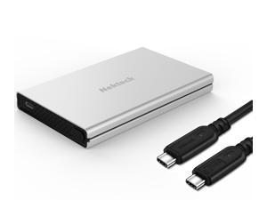 Nekteck Aluminum SATA to USB C Enclosure (Gen 1) HDD/SSD Adapter Case with USB Type C to C Gen 2 Cable Tool Free Hard Drive Enclosure - Silver 2.5 Inches