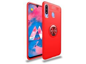 iCoverCase for Samsung Galaxy M30 Case, [Invisible Matal Ring Bracket][Magnetic Support] Shockproof Anti-Scratch Ultra-Slim Protective Cover Case with Kickstand (Red+Red)