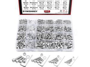 DYWISHKEY 1220 PCS M2 M3 M4 M5, 304 Stainless Steel Hex Socket Head Cap Bolts Screws Nuts Washers Assortment Kit with Hex Wrenches