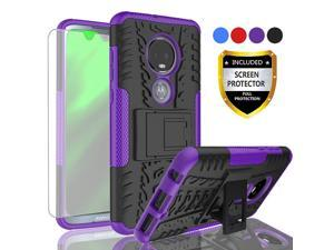 AYMECL Moto G7 Phone Case,Moto G7 Case,Tire Pattern Design Heavy Duty Dual Layer Shock Resistant Armor Kickstand Cover with HD Screen Protector for Motorola Moto G7-HN Purple-1