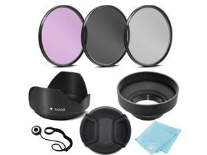 67mm 3 Piece Filter Kit (UV-CPL-FLD) + 67mm Tulip Lens Hood + 67mm Soft Rubber Hood + 67mm Lens Cap + for Select Canon, Nikon, Sony, Olympus, Panasonic, Fuji, Sigma SLR Lenses, Cameras and Camcorders