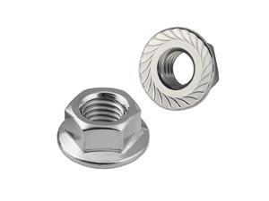 10-32 Serrated Flange Hex Lock Nuts, Stainless Steel 304, Bright Finish, 50 PCS