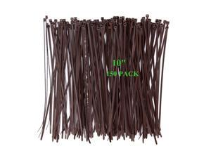 Wide 10 Inch 150 Pack Strong Wood Brown Natural Color Standard Durable Cable Zip Ties Wood Color-Outdoor, Garden Ties, Office and Kitchen Use