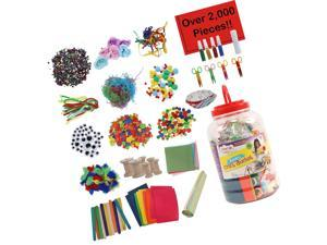 Kraftic All in One Jumbo Craft Bucket Kit, DIY Arts and Crafts Supplies Jar A...