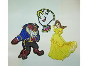 Disneys Beauty and The Beast With CHIP Set of 3 Embroidered Patches
