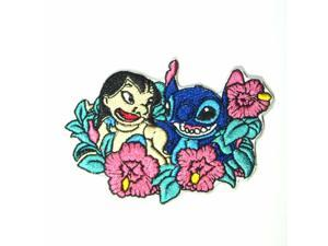 """Disneys Lilo & Stitch in a bed of Flowers Embroidered Iron/Sewn On Patch 3.5"""""""