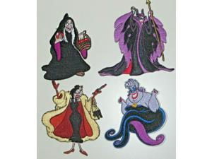 """Disneys Female Villains Deluxe Embroidered Patch Set of (4) 4"""" Tall"""