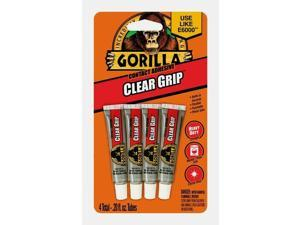 Gorilla CLEAR GRIP 4 ct Tubes High Strength Contact Adhesive Waterproof 8130002