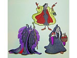 """Disneys Female Villains Deluxe Embroidered Patch Set of (3) 4"""" Tall"""