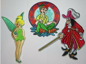 Disneys Peter Pan, Captain Hook & Tinkerbell Embroidered Patch Set Of (3)