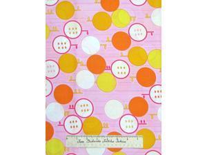 Sunny Daze Alice Kennedy Apple Citrus Fruit Pink - Timeless Treasures Fabric