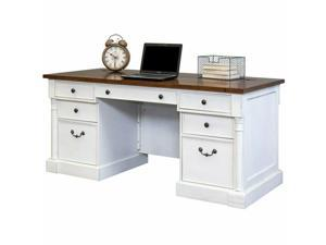 Martin Furniture Durham Executive Desk in Weathered White