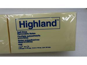 Highland Self-Stick 2 7/8 x 4 7/8 Pop-Up Notes Yellow 100-Sheet 12/Pack 6559